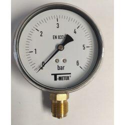 """Nyomásmérő alsó csatlk. 1/2"""" 0-6 bar átm. 100 (műanyagházas)"""