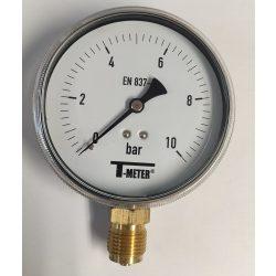 """Nyomásmérő alsó csatlk. 1/2"""" 0-10 bar átm. 100 (műanyagházas)"""