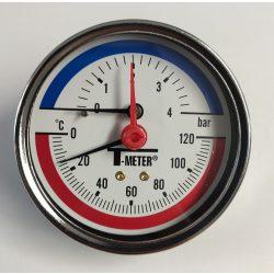 "Thermo-manometer, hátsó csatl., 1/2"", 0-4 bar, átm. 80"