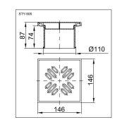 STYRON Magasító, rozsdamentes ráccsal, 150x150 mm