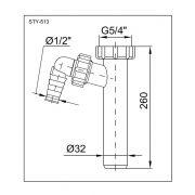 STYRON Kötőcső, mosógép csatlakozóval (32 x 260 mm)
