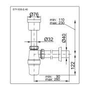 STYRON Piszoár szifon egyenes 40 mm