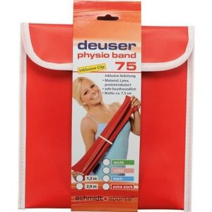 DEUSER Physio Band Erősítő Gumiszalag + Gyorskapocs 75 piros-extra erős, 2 m*